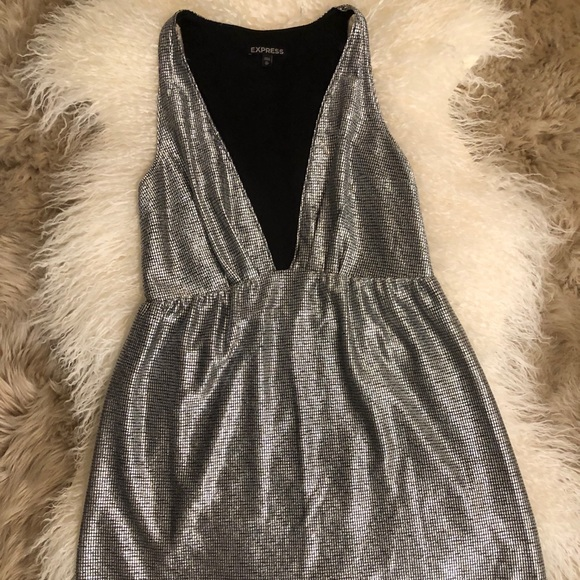 Express Dresses & Skirts - Express Metallic plunging neckline mini dress